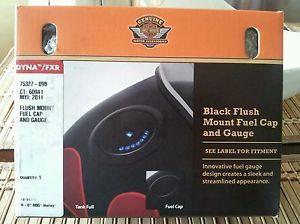 Harley Davidson Dyna Gloss Black Flush Mount Fuel Cap and Guage P N 75327 09B