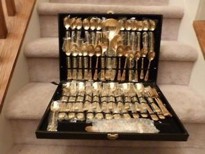 ... 63 Piece Set of Wm Rogers Gold Plated Flatware Enchanted Rose Silverware ... & 62 Piece Wm Rogers Son Gold Enchanted Rose Stainless Flatware Set for 12