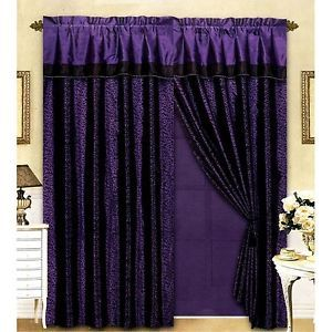 4piece Flocking Animal Print Purple Black Leopard Satin Window Curtain Drape Set