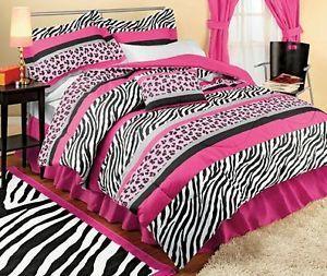 Jungle Wild Zebra Animal Print Safari Black White Pink Queen Comforter Set