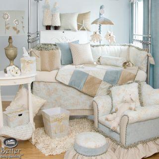 Glenna Jean Baby Boy Blue Toile Crib Nursery Bedding Quilt Set Bed Accessories