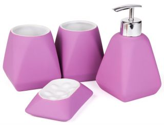 Ceramic Bathroom Accessory Set 1 Gel Dispenser 2 Bathroom Tumblers 1 Soap Dish