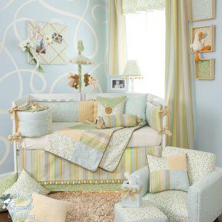 Glenna Jean Baby Boy Blue Yellow Dot Stripe Crib Nursery Best Bedding Quilt Set