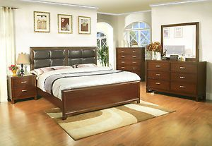 New Bedroom Furniture 4 PC Queen Bedroom Set Simple Design Bed Frame Dresser MIR