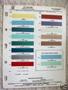 1961 Plymouth Valiant Ditzler Paint Chip Chart