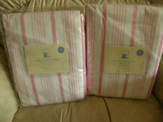 2 New Pottery Barn Kids Curtain Panel Isabelle Pink Stripe Pole Pocket 96 x 44