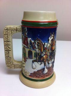 Budweiser Collectors Beer Stein CS343 1998 Grants Farm Holiday Mug
