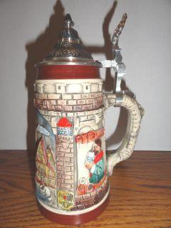 "German Lidded Beer Stein Mint ""Busch Gardens"" Western Germany Thewalt"