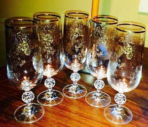 Five Antique 14k Gold Etched Fluted Wine or Champagne Crystal Stemware Glasses