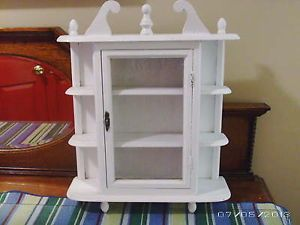 Vtg Shabby Country French Cottage Chic White Wall Curio Display Cabinet
