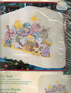 Stamped Cross Stitch Kit Nativity Baby Quilt Dimensions