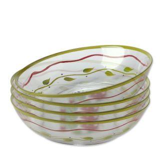 Pfaltzgraff Napoli Hand Painted Glass Salad Bowls Set of 4