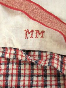 Antique French Comforter Duvet Cover Kelsch Linen Check Plaid Design Fabric