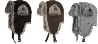 Men's Wool Faux Fur Russian Trooper Trapper Ear Flap Winter Caps Avaitor Hats