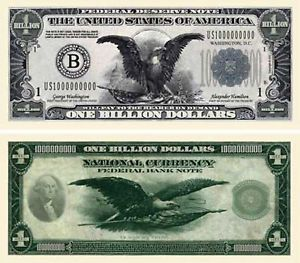 National Currency 1 Billion Dollar Bill Note Lot of 100