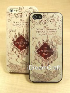 iPhone 5 Case Harry Potter Marauder's Map Hard Cover Free Screen Protector