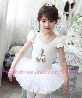 Pink White Black Toddler Dance Leotard Ballet Tutu Skirt Dress Size 3 8 Yrs