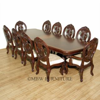 11 PC 10ft Long Mahogany Double Pedestal Table w 10 Chairs Dining Room Set Y