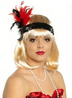 Ladies Black and Red Sequin Headband Roaring 20's Charleston Flapper Costume