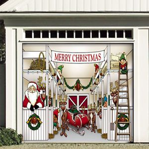 Santa Reindeer Christmas Garage Door Decoration CRB1C