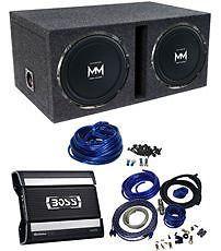 """2 Autotek M12D4 12"""" Car Subwoofers Vented Sub Box 1600 Watt Amplifier Amp Kit"""
