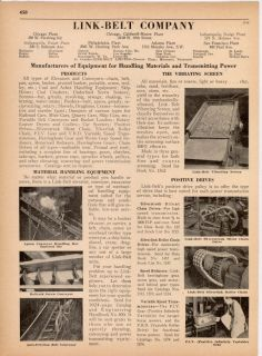 Link Belt Ad Handling Equipment Mine Conveyor 1936 Vibrating Screen Chain Drives