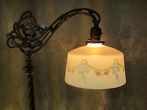 Antique Houze Glass Bridge Floor Lamp Fabulous Shade Jadite Slag Glass Style