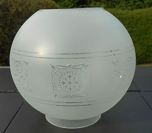"""Etched Glass Oil Lamp Shade Globe 4"""" Fitter"""