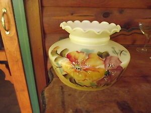 Beautiful Hand Painted Milk Glass Hurricane Replacement Lamp Shade Globe