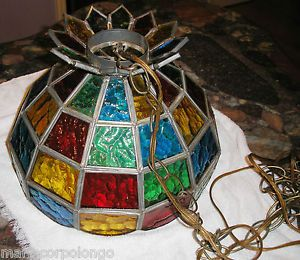 Vintage Tiffany Style Stained Glass Chandelier Hanging Light or Lamp Shade