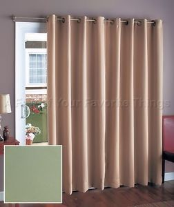 "112"" Wide Sage Green Blackout Patio Door Curtain Grommet Style Panel Drapes"