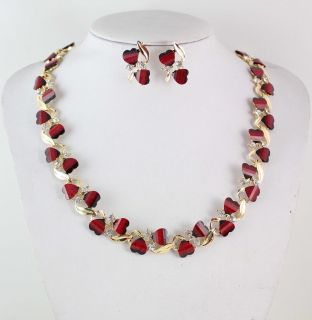 Hot Red Garnet Ruby Topaz 18K Silver Gold Plated Necklace Earrings Set