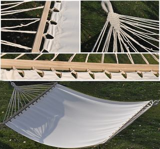 "New 59""Outdoor Camping Double Wide Hammock Cotton Sleeping Bed Wood Spreader Bar"