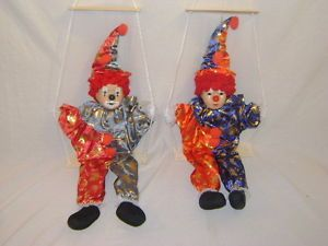 Pair of 2 Vintage Hanging Swinging Clown Dolls Unique Retro Childrens Home Decor