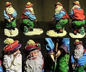 Christmas Home Decor Santa Claus Playing Golf Figural Statue RARE