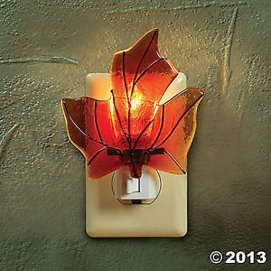 Fall Leaf Fused Glass Autumn Night Light Thanksgiving Home Decor New TVI3 693