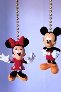 Disney Mickey Minnie Mouse Club Novelty Home Decor Ceiling Fan Light Pull Set