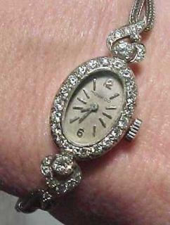Vintage Ladies Movado White Gold Diamonds Watch