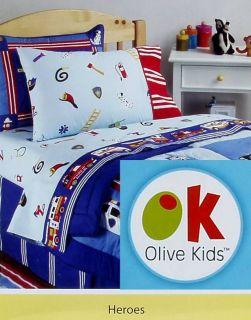 Olive Kids Rescue Heroes Fire Trucks Ambulances 4pc Full Sheets Bedding Set New