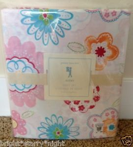 Pottery Barn Kids Avery Twin Sheet Set New Floral Birds Flowers Girl Bedding