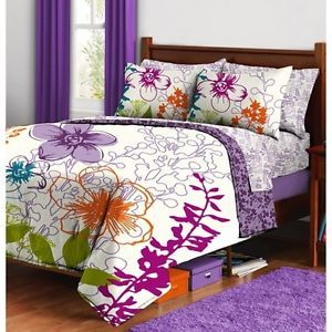 Purple Flowers Comforter Sheets Sham Set Dorm Teen Kids Room Girls Bedding Room