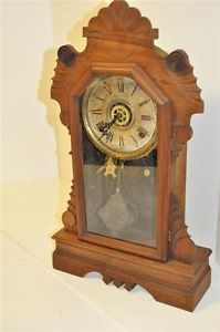 Antique Gilbert Gingerbread Kitchen Clock with Alarm Pristine Working Condition