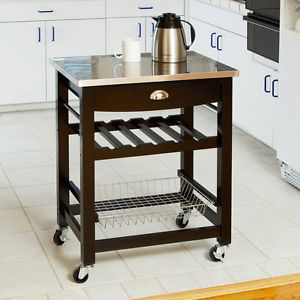 Wooden Kitchen Island Cart with Drawer Stainless Steel Top