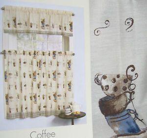 Cafe Paris Kitchen Curtains Set Java Coffee Cups Blue