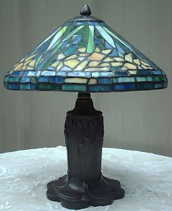 Tiffany Style Stained Glass Lamp Floral Daffodil Shade Watter Lily Pad Base