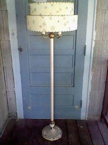 Antique Metal Pole Floor Lamp Glass Base Atomic Tiered Fiberglass Shade 2 Switch