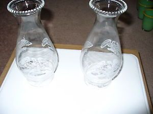 "2 Vintage Clear Glass Oil Lamp Chimney Globe Shades Eagle 8 1 2"" Tall 2 3 4 Base"