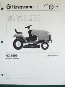 Husqvarna GTVH 200 Lawn Garden Tractor Mower Parts List Service Manual
