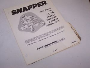 Snapper Lt 16 Series 2 Lawn Garden Tractor and Mower Parts Book Manual Catalog