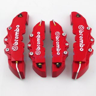 Universal Red 3D Brembo Style Disc Brake Caliper Covers 4pcs Front Rear CT01